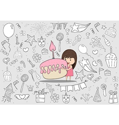 Girl with birthday cupcake on happy birthday vector