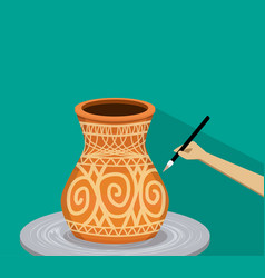 Artist painting ancient tribal pottery vector