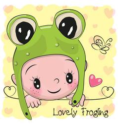 Baby boy in a frog hat vector