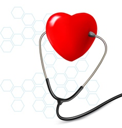 Background with stethoscope against a heart vector image vector image