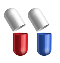 Blue and red pills vector