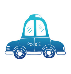 blue silhouette emergency police car transport vector image vector image