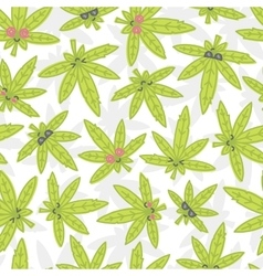 Cartoon kawaii weed seamless pattern white vector image vector image