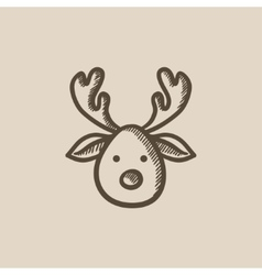 Christmas deer sketch icon vector image vector image
