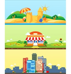 City market beach backgrounds flat design vector image vector image