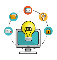 Computer with idea bulb and technology icons vector