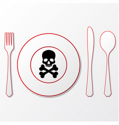 Cutlery with skull vector