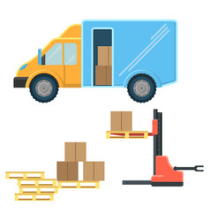 delivery truck with postal packages and machine vector image vector image
