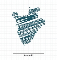 Doodle sketch of Burundi map vector image vector image