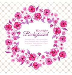 Floral watercolor wreath with pink flowers vector image vector image