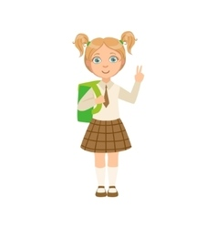 Girl in chekered skirt with tie happy schoolkid in vector