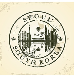 Grunge rubber stamp with Seoul South Korea vector image