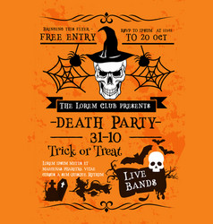 halloween holiday poster with skull in witch hat vector image vector image