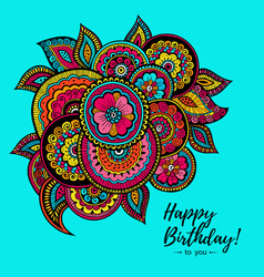 Happy birthday card with indian floral pattern vector