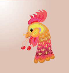head of cartoon rooster isolated vector image