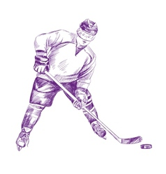 Hockey Player hand drawn llustration vector image vector image
