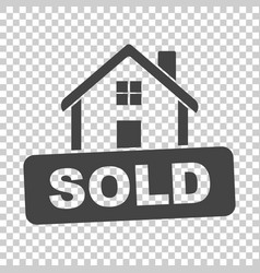 House with sold sign flat on isolated background vector