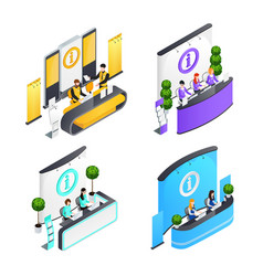 information desks isometric compositions vector image
