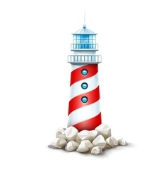 Lighthouse tower at stone rocks vector image