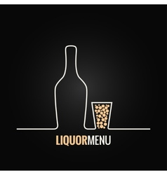 liquor bottle glass shot design background vector image vector image