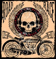 Motorcycle poster skull tee graphic design vector
