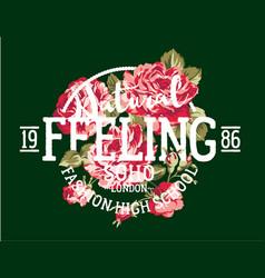 Natural feeling fashion roses vector