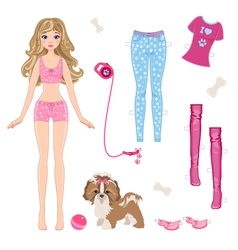 Paper doll with clothes and dog vector image vector image
