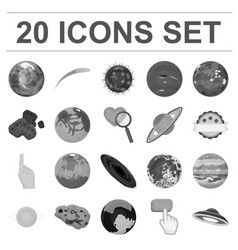 planets of the solar system monochrome icons in vector image