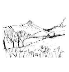 remarkable georgian landscape sketch black and vector image