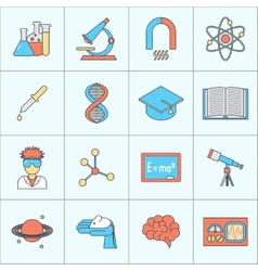Science and research icon flat line vector