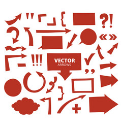set of hand drawn arrows and cartoon design vector image