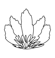 Silhouette front view flower with sepal vector