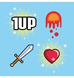 Spade flame heart and videogame design vector