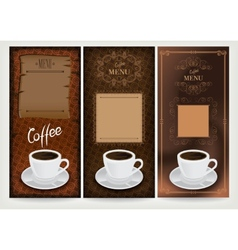 Three coffee design templates vector image vector image
