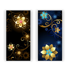 Two banners with the jewelry flowers vector