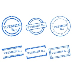 Vitamin B12 stamps vector image vector image