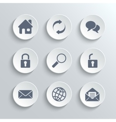 Web icons set - white round buttons vector