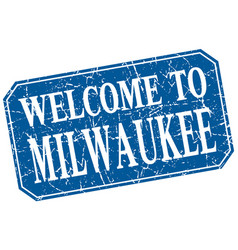 Welcome to milwaukee blue square grunge stamp vector