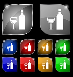 Wine Icon sign Set of ten colorful buttons with vector image vector image