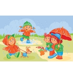 young children playing vector image