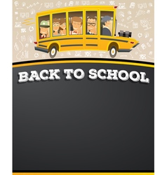 School Bus in Cartoon Style with Pupils vector image