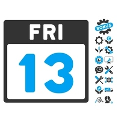 13 friday calendar page icon with bonus vector