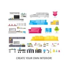 Home interior orthogonal elements set vector