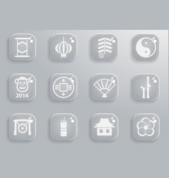 Chinese new year simply icons vector