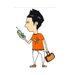 Close-up of boy holding mobile phone vector