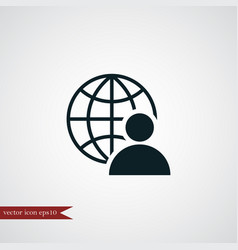 Human with globe icon simple vector