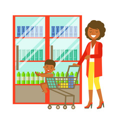 Young woman pushing a supermarket cart with some vector