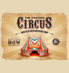 vintage old circus poster with grunge texture vector image