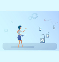 Business woman hold key choosing lock opportunity vector