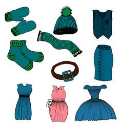 cartoon set of clothes vector image